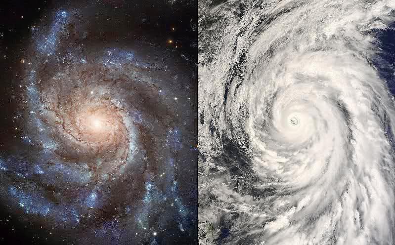 Semelhança incrível entre o formato de uma galáxia e um ciclone terrestre, demostrando um padrão comum.