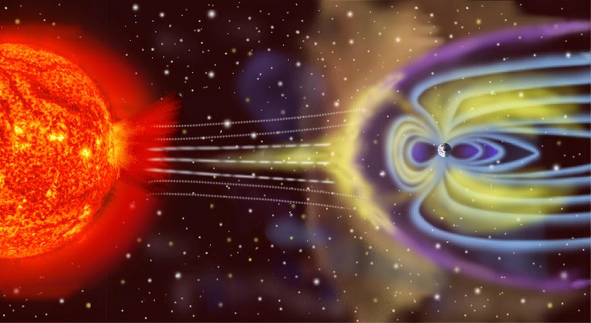Concepção artística da Magnetosfera terrestre. Imagem fonte: NASA