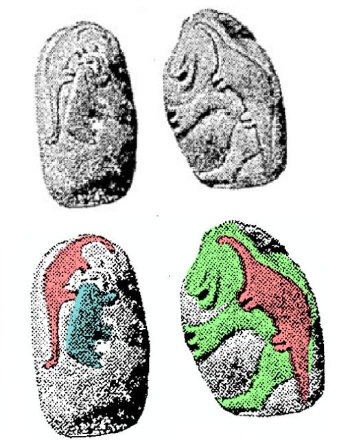 Imagem 05: Representação aproximada de dois dinossauros (provavelmente Saurópodes), um mastodonte e um rosto sorridente, desenhados na parte traseira da Pedra de Granby.