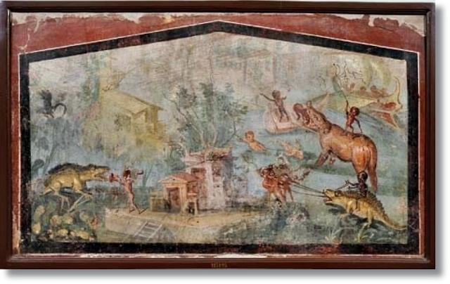 Imagem 06: Pigmeus são retratados interagindo com alguns mamíferos aquáticos e dois répteis enormes no Afresco de de Pompeia - 70 a.C