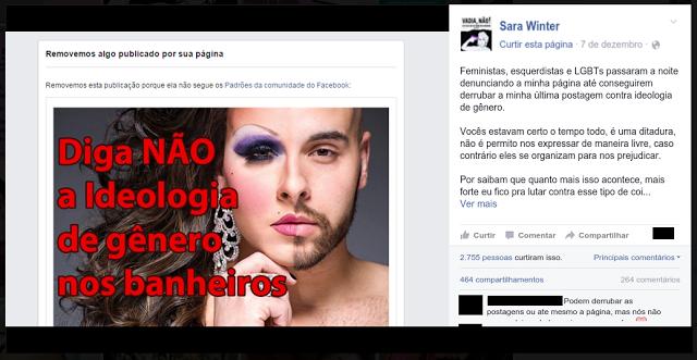 Postagem da página de Sara no Facebook, agora lutando contra uma das coisas que antes defendia.