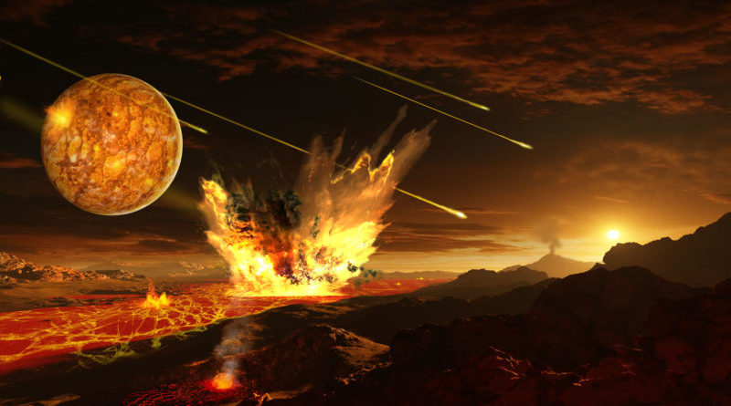 Concepção artística do planeta Terra primitivo, quando a sopa primordial teria sido formada.