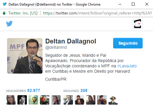 """Em seu perfil no Twitter, Dallagnol afirma em primeiro lugar que é um """"seguidor de Jesus"""""""