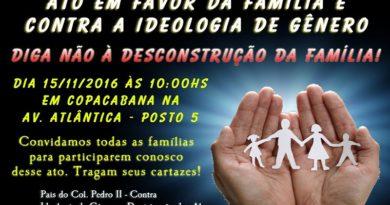 Pais e alunos do Colégio Pedro II organizam Ato Pela Família e Educação